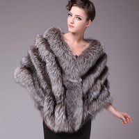 Autumn Winter Ladies' Real Natural Silver Fox Fur Shawls Women Fur Pashmina Wraps Wedding Bridal Capes VF0557