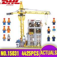 Lepin 15031 натуральная MOC здания серии строительство с краном набор строительные блоки кирпичи рождественские подарки legoing игрушки подарок