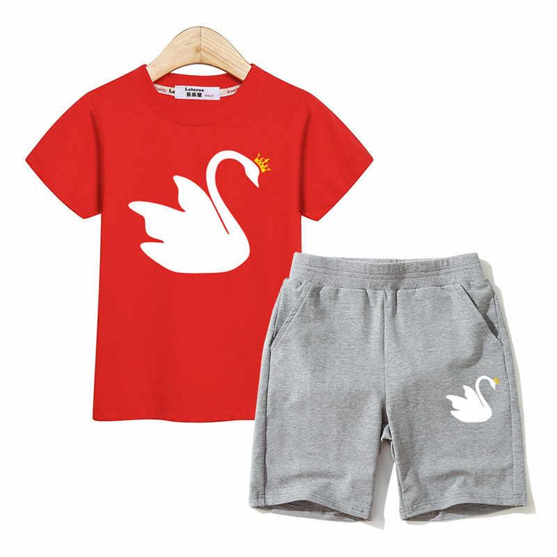 Lolocee meisje outfits zomer 2 stuks sets voor kid t-shirt + shorts witte zwaan ontwerp meisjes kleding kind mode suits