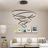 L Duplex staircase chandelier post modern minimalist led light creative living room dining room ring large hanging lamps
