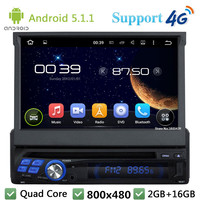Quad Core 7 1024 600 1Din Android 5 1 1 Universal Car DVD Multimedia Player Radio