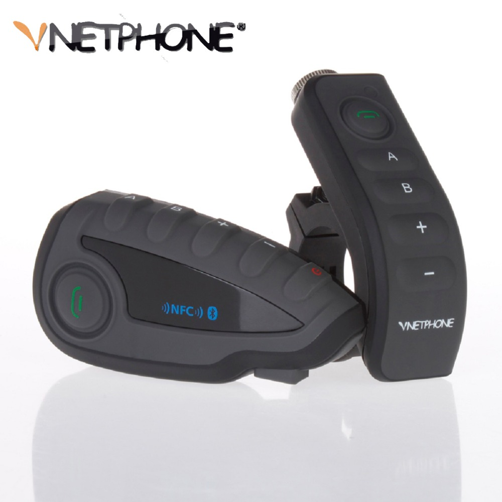 QPLOVE Vnetphone V8 Bt-s2 Bluetooth Intercom NFC Motorcycle Handlebar Remote Control Communicator Motorcycle Helmet Headset