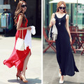 2015 women new fashion summer slim bohemia backless side slit one-piece vest full dress red balck
