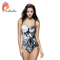 L 7XL Plus Size Swimwear Sexy One Piece Women Swimwear White Floral Printing High Waist Bodysuit