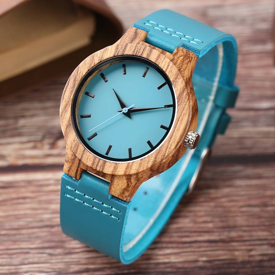 Fashion Blue Wooden Bamboo Quartz-watch Natural Wood Wristwatch Genuine Leather Creative Xmas Gift for Men Women Reloj de madera 2017 2018 (22)