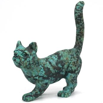 Cat Figurine African Turquoise Carved Gemstone Animal Statue Stone Home Decor 3.58