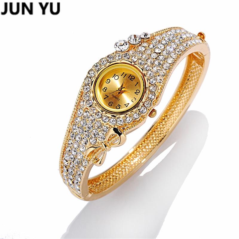 JUNYU 2016 18K זהב נשים יוקרה קריסטל מרובע - שעונים לנשים