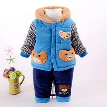 2016 NEW children's winter clothing sets with bear style baby boys winter suit and pant boys winter outwear cotton hooded coat