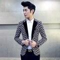 Terno dos homens de Estilo Retro tipo de Malha Listrado Moda Paletó Masculino magro Business Casual Blazers plus size 3XL 4XL 2017 nova X06