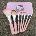 7 unids más nuevo color de rosa Hello Kitty maquillaje cepillo Mini tamaño cosmética profesional maquillaje pinceles Set para MAC con caja de Metal VH012