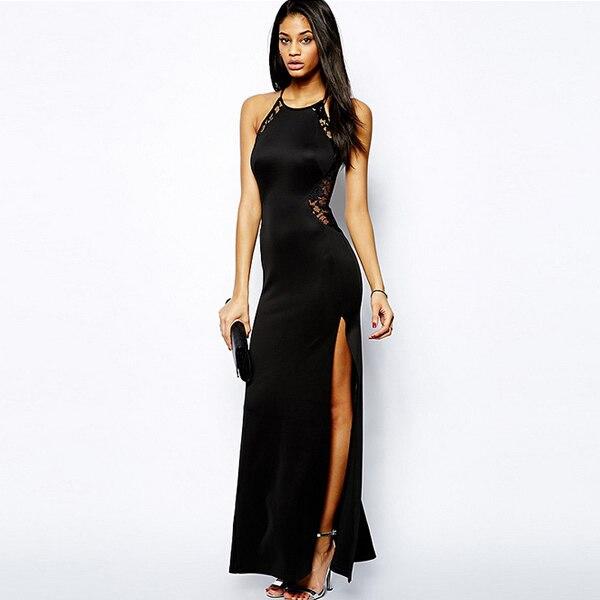 b8c0cc655a117 2018 الصيف الجانب الشق فساتين مثير الرباط أكمام ماكسي ثوب الجانبية قطع  الدانتيل الأسود القوطي فستان