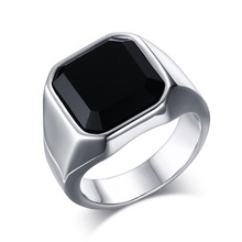 Punk Party Black Cubic Zirconia Gothic Mens Ring Silver Color Luxury Brand Rings Bulk Jewelry