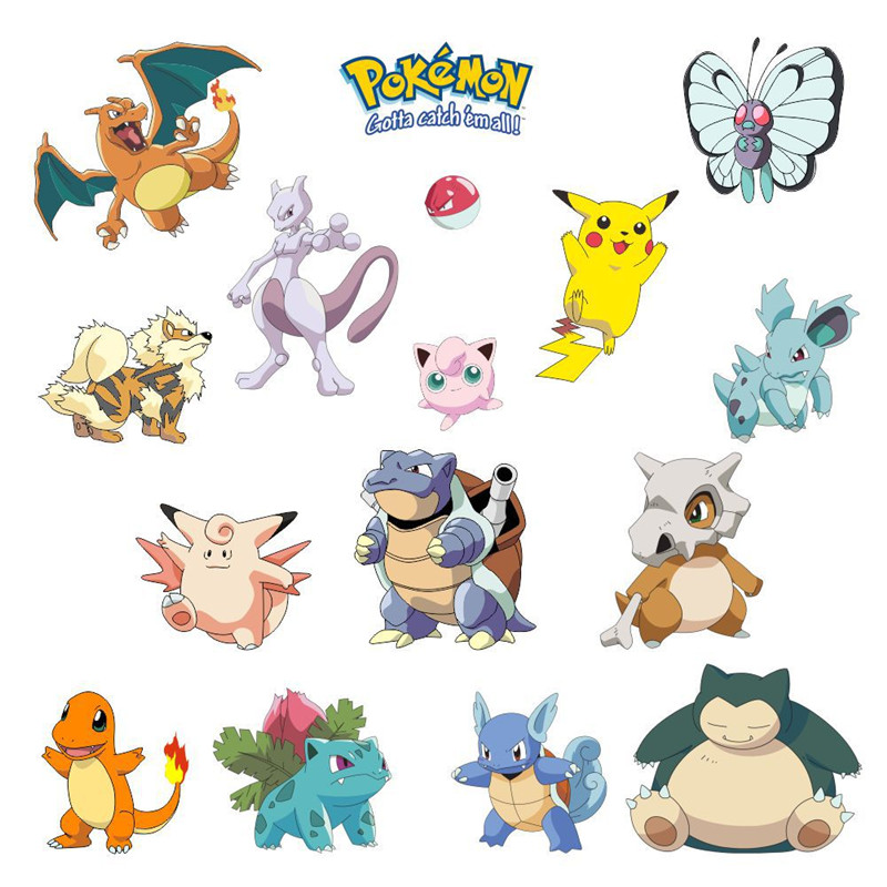 Pokemon Go Wall Stickers For Kids Room Decoration Pikachu Pocket Monster Nursery Home Decals Art Game Fans Gift Peel & Stick