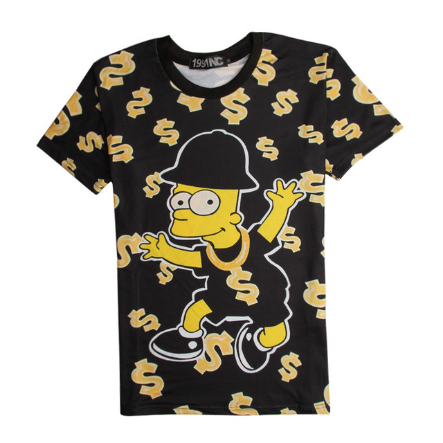 2016 Summer New Arrival 3D T Shirt Cartoon Funny Rich Moneyed Bart Simpson Graphic Tees Women/Men Casual T Shirt Streetwear Tees