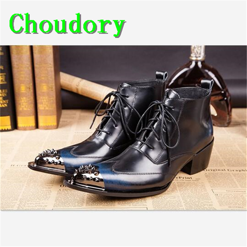 Choudory Chukka Boots Men Martin Flat Platform Pointed Toe Rivet Height Increasing Ankle Boots Leather Steel Toe Work Shoes Men