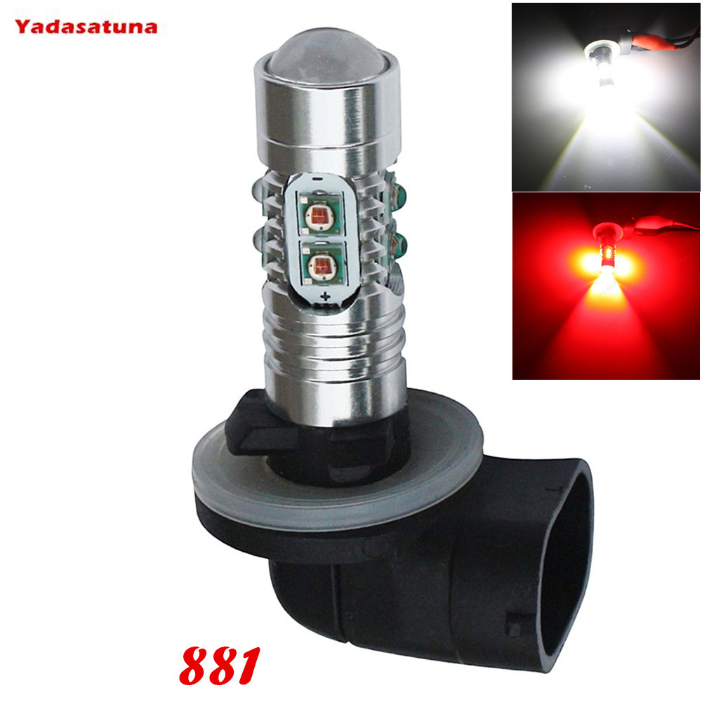 2Pcs 700 Lumens Super Bright Cree XPE Chips 50W 881 H27W/2 Led Car Bulbs Used For DRL or Fog Lights,Xenon White/Red/Amber