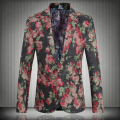 2016 Spring Clothing Big Size 5XL New Fashion Men Suit Jacket Casual Slim One Button Mens Floral Blazer Brand Tops  JS-0366