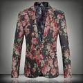 2016 primavera roupas tamanho grande 5XL New Fashion jaqueta de terno homens casuais magros dos homens um botão Blazer Floral marca Tops JS-0366