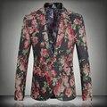 2016 ropa de primavera tamaño grande 5XL nueva moda hombre chaqueta de traje Casual un botón delgado delgado Floral Mens Blazer Tops de marca JS-0366