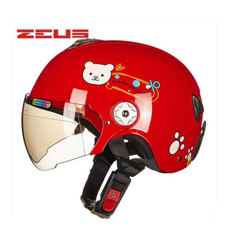 2017 Summer New ZEUS half face children helmet child motorcycle helmets made of ABS Cartoon four seasons safety caps size S M