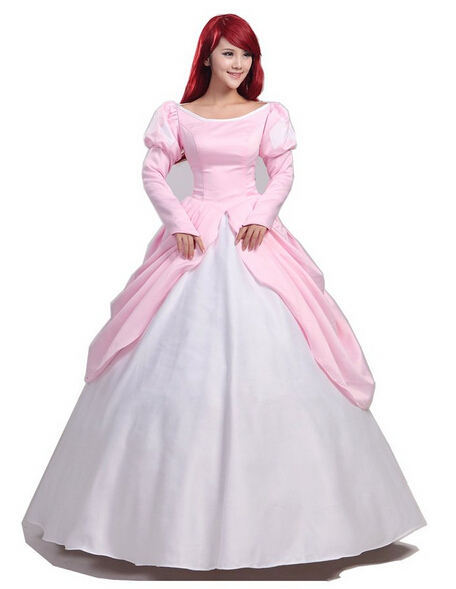 Pink Ball Gown Adult Princess Ariel Dress Cosplay Costume The Little Mermaid Dress A-Line