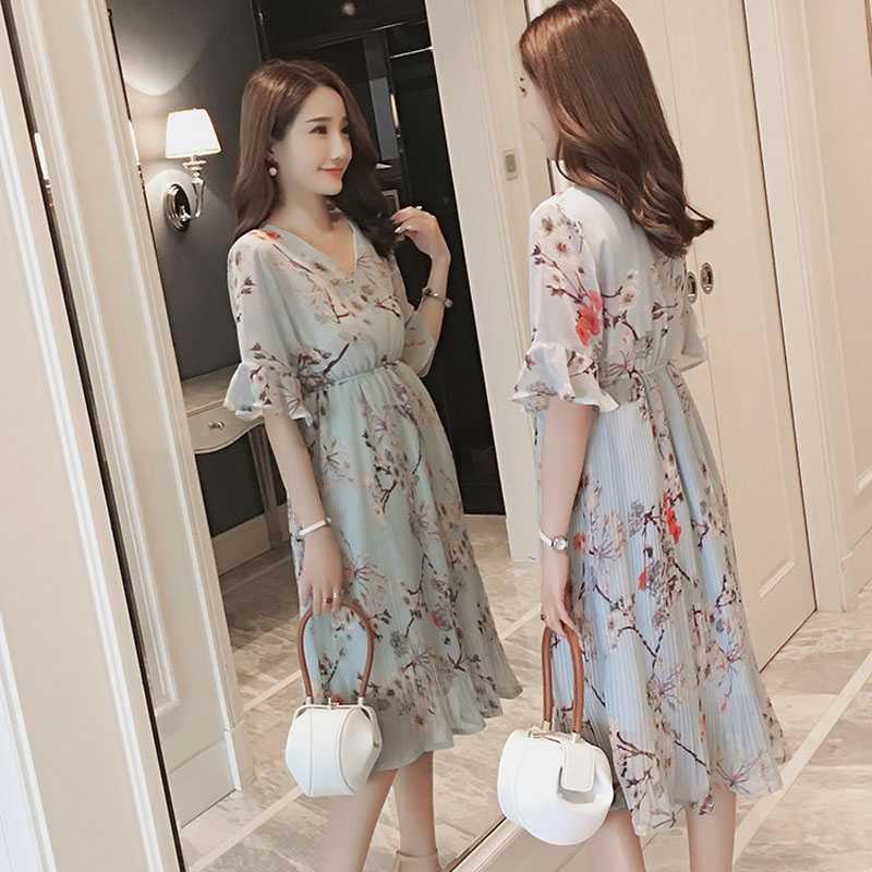 Pregnant Women Midi Pleated Chiffon Dress Floral Designs Summer Pregnancy Clothes Loose Plus Size Maternity Dresses