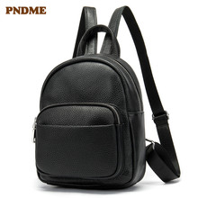 PNDME first layer cowhide backpack vintage casual ladies shoulder bag zipper genuine leather mini black