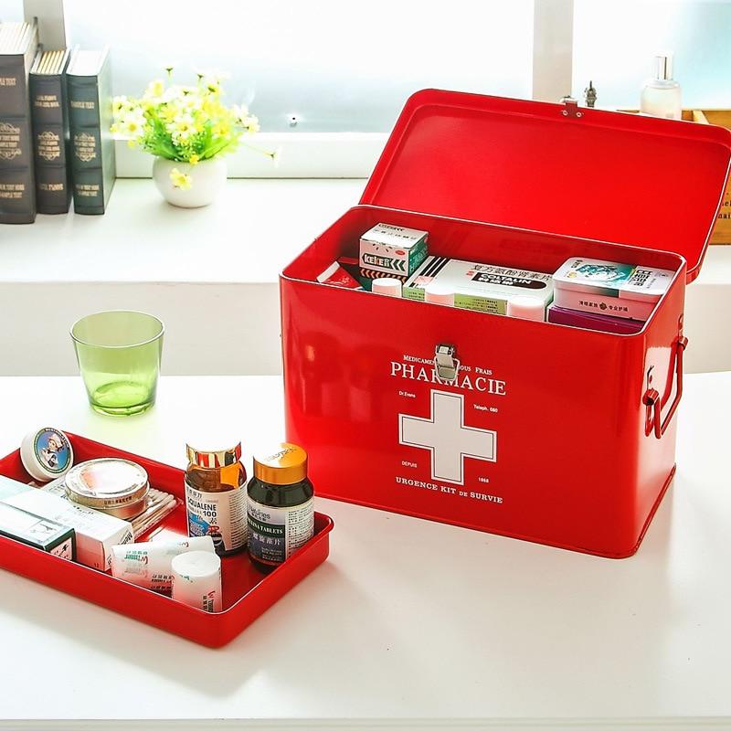Multi-couches médecine familiale métal boîte médicale médical premiers secours boîte de rangement stockage médical rassemblement