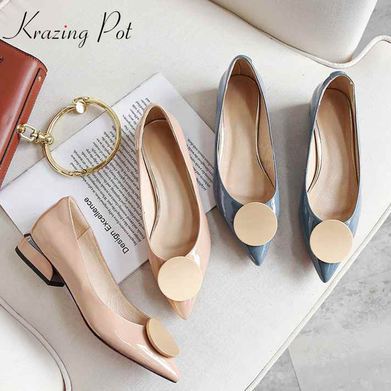 Krazing Pot 2019 genuine leather streetwear slip on pointed toe low heel round buckle luxury pumps for women oxford shoes L1f3
