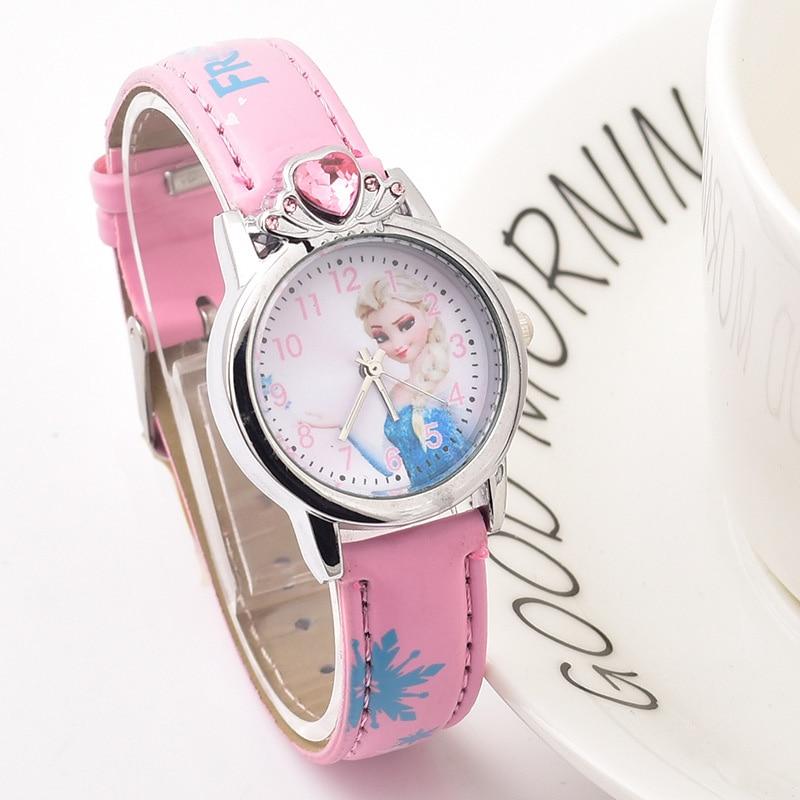 New Style Princess Elsa Child Watches Cartoon Anna Crystal Princess Kids Watch For Girls Student Children Clock Wrist Watches