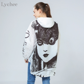 Lychee Spring Autumn Women Jacket Comics Anime Cartoon Long Sunscreen Water Proof Windbreaker Coat 1