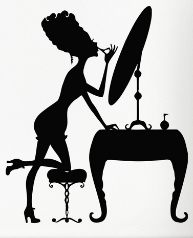 Beauty salon wall sticker sexy girl beauty dressing table for Beauty parlour dressing table images