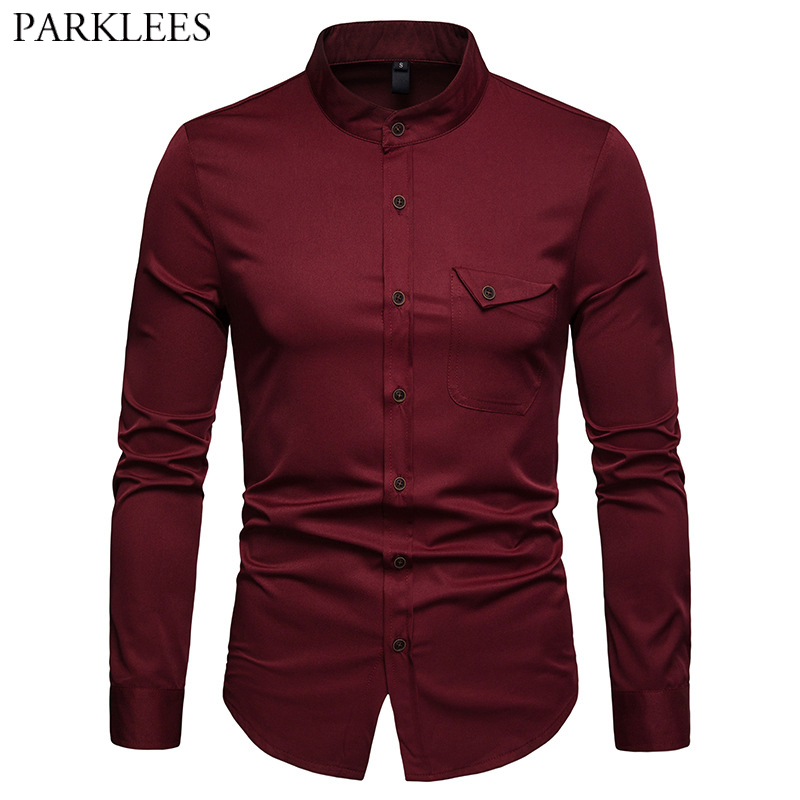 Mens Solid Mandarin Collar Shirt 2019 Casual Slim Fit Wine Red Dress Shirts For Men Plus Size Woke Tops Camisas Social Masculina 1