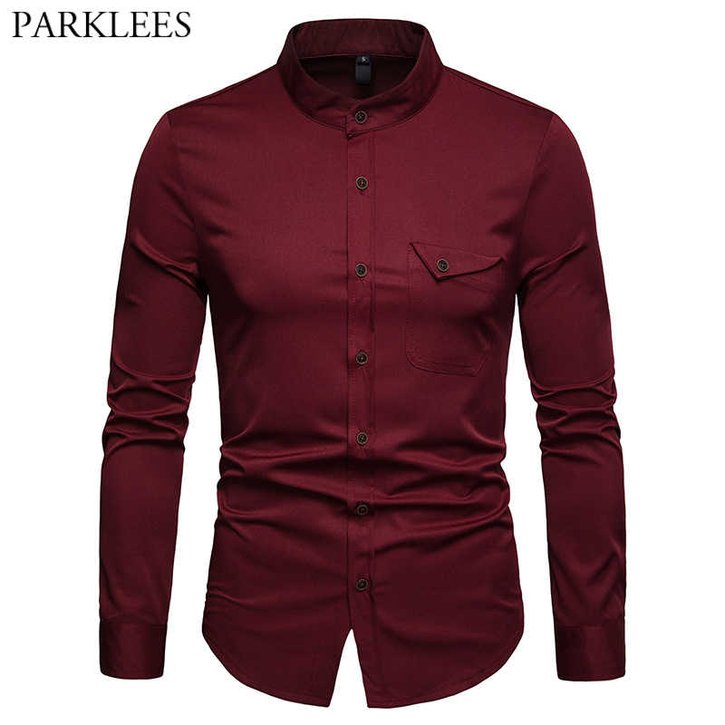 Mens Solid Mandarin Collar Shirt 2019 Casual Slim Fit Wine Red Dress Shirts For Men Plus Size Woke Tops Camisas Social Masculina