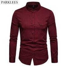 Camisa de gola mandarina sólida masculina 2019 casual fino ajuste vinho vermelho vestido camisas para homem plus size despertado topos sociais masculina