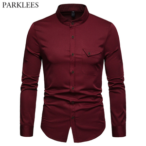 Image 1 - Mens Solid แมนดาริน 2019 เสื้อลำลอง SLIM FIT ไวน์แดงชุดเสื้อสำหรับชายขนาด Woke Tops Camisas social Masculina