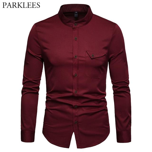 Mens Solid แมนดาริน 2019 เสื้อลำลอง SLIM FIT ไวน์แดงชุดเสื้อสำหรับชายขนาด Woke Tops Camisas social Masculina
