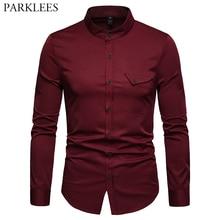 Mens Solid Mandarin Collar Shirt 2019 Casual Slim Fit Wine Red Dress Shirts For Men Plus Size Woke Tops Camisas Social Masculina