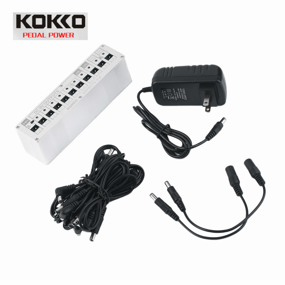 KOKKO 10 Isolated Output DC 9V 12V 18V Guitar Pedal Effect Power Supply Adapter Aluminum Alloy Guitar Accessories Hot Sale kokko frb2 mini space pedal portable guitar effect external ac adapter delivering 9v dc regulated guitar parts