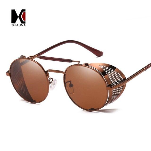 SHAUNA Vintage Femmes Réversible Steampunk lunettes de Soleil Marque  Designer Classique Hommes Ronde Punk Lunettes Lunettes 20ac426f808f