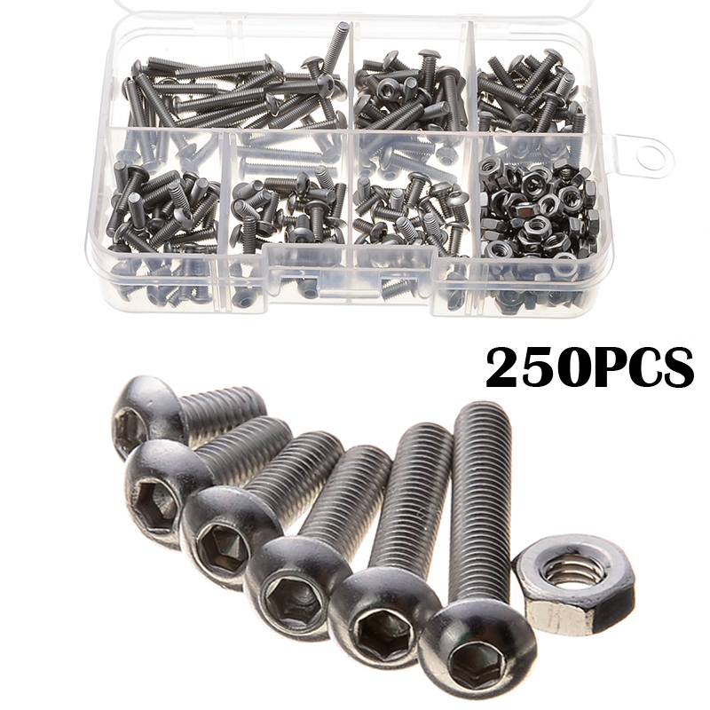250PCS Hex Flat Countersunk Head Screws Fasteners Set Hexagon Stainless Steel Screw & Nuts Hexagonal Sockets Kit 20pcs metric m12 304 stainless steel hex head dome cap protection cover nuts fasteners