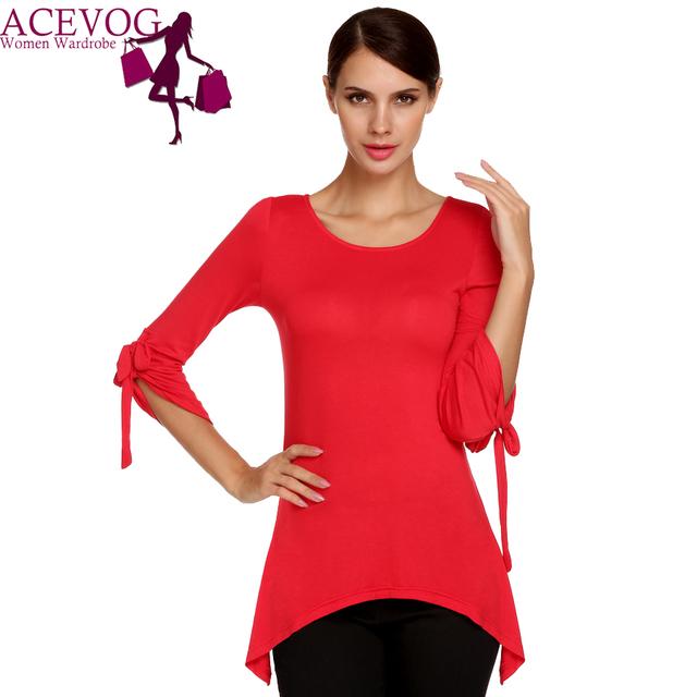 ACEVOG Marca Otoño Camiseta Mujeres Glamour Señora Bow Manga Solid Casual Mezcla De Algodón Elegante Asimétrico Camiseta de La camiseta Superior