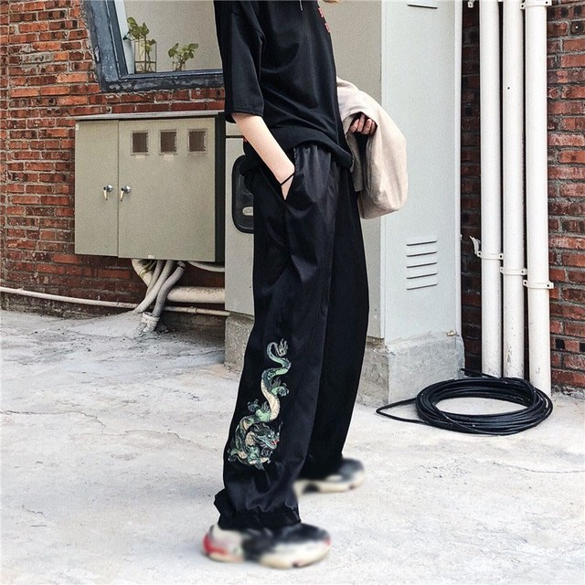 2019 Vintage Solid Color Elastic Waist Wide Leg Pants Chinese Style Dragon Embroidery Trousers Women Cool Trousers