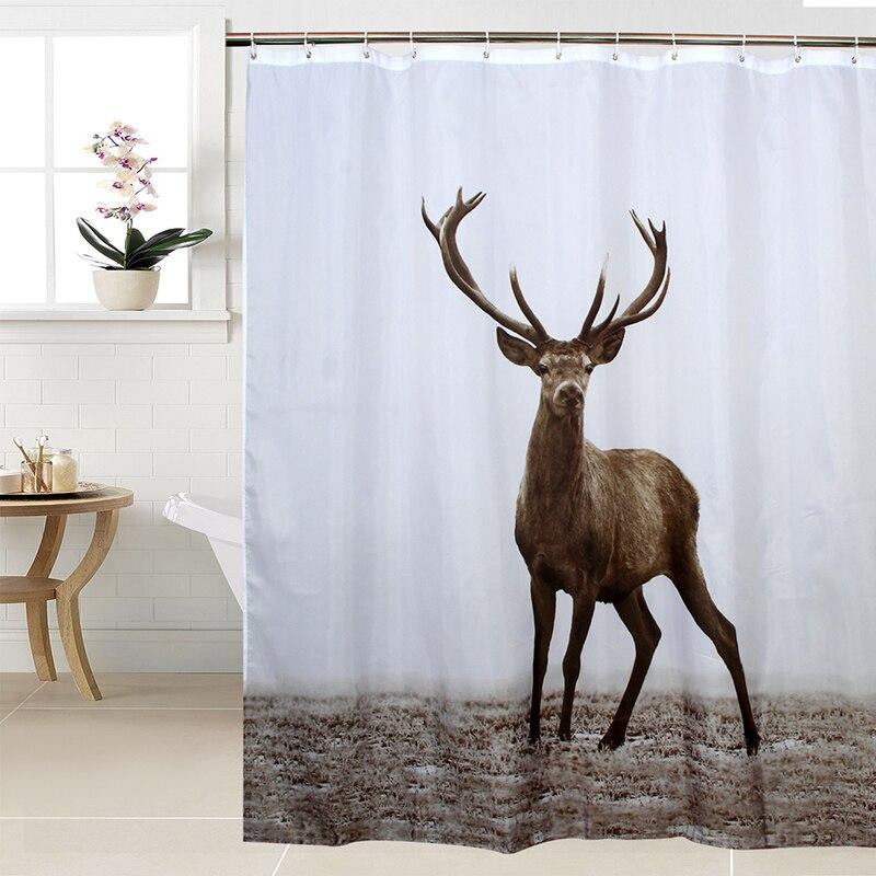 Cortina de Chuveiro Árvore Feliz Tecido Poliéster Animal Cervos Impermeável Banheiro Cortina Rena Banho Tamanho 180x180cm