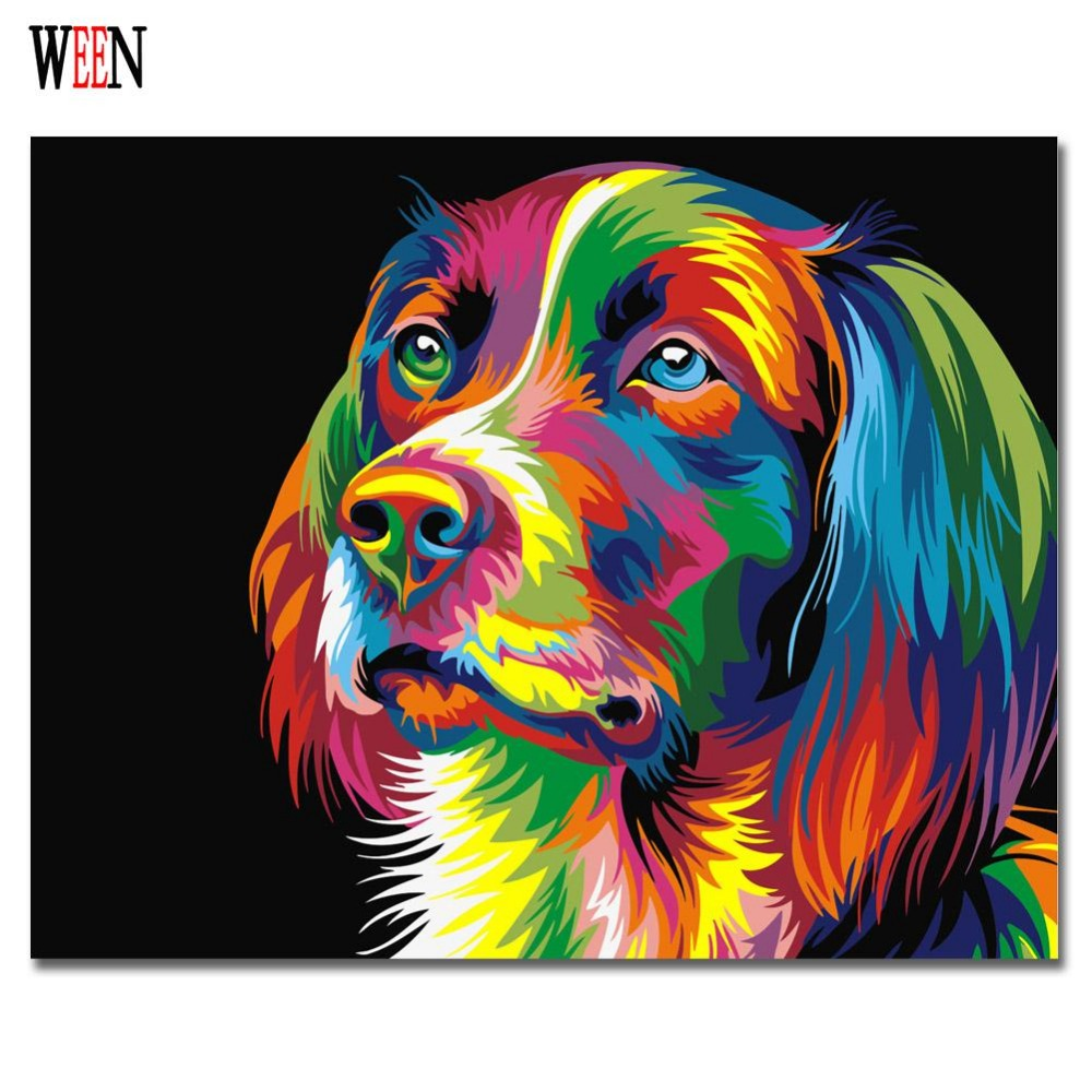 WEEN Colorful Dog Abstract Painting Diy Digital Paintng By Numbers Modern Animals Wall Art Picture For Home Wall Artwork 2017