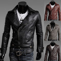 2014 New Spring Classic Motorcycle Zipper PU Leather Jackets V-neck Slim fit Jaquetas de Couro Casual Coats for Men M-2XL