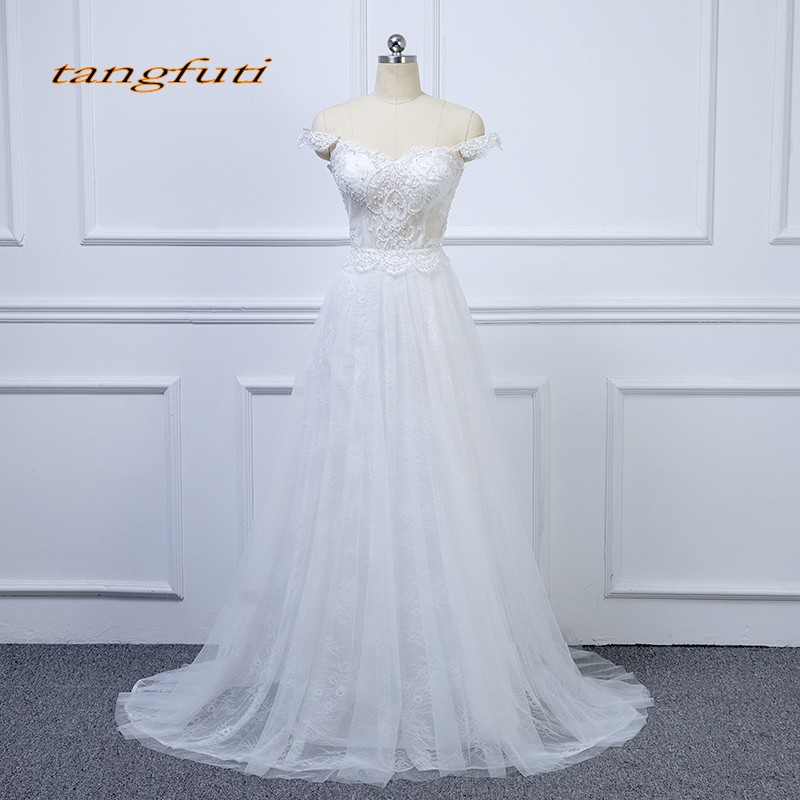 Hot Sale Lace Wedding Dresses A Line Pearls Country Western Wedding ...