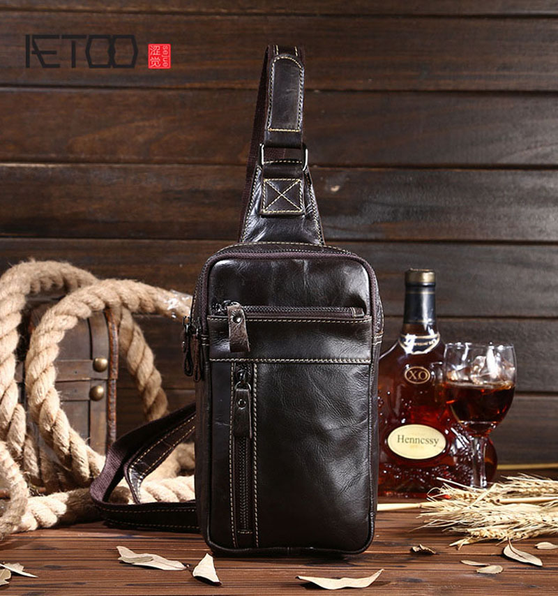 AETOO Oil wax skin male chest bag retro cowhide leisure Korean version of the first layer of leather men bag aetoo first layer of leather shoulder bag female bag korean version of the school wind simple wild casual elephant pattern durab