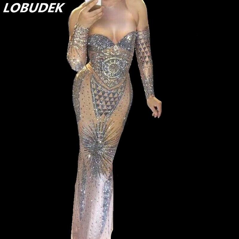 Brillant argenté strass longue robe de fête de bal femmes vêtements discothèque Bar chanteur étoile Vocal Concert Performance Costumes