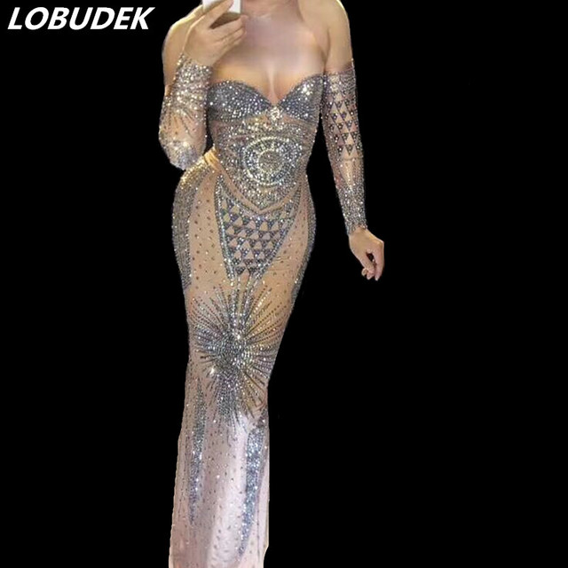 Sparkly Silvery Rhinestones Long Dress Party Prom Women Clothing Nightclub Bar Singer Star Vocal Concert Performance Costumes
